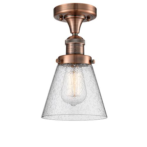 Small Cone Antique Copper Seven-Inch One-Light Semi Flush Mount with Seedy Cone Glass