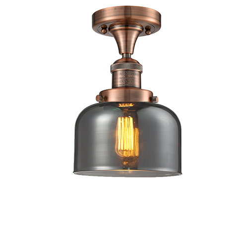 Innovations Lighting Large Bell Antique Copper 12-Inch One-Light Semi Flush Mount with Smoked Dome Glass