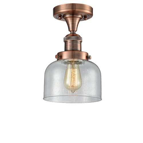 Innovations Lighting Large Bell Antique Copper 12-Inch LED Semi Flush Mount with Seedy Dome Glass