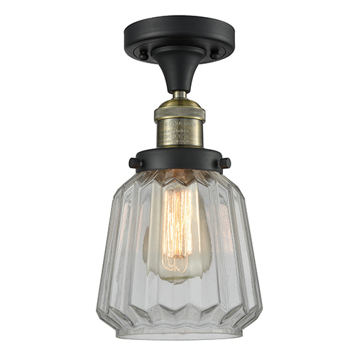 Chatham Black Antique Brass 14-Inch One-Light Semi Flush Mount with Clear Fluted Novelty Glass