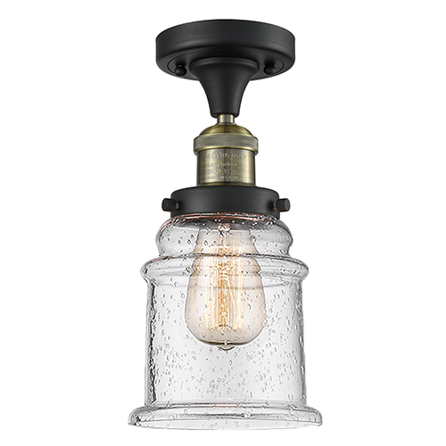Innovations Lighting Canton Black Antique Brass 12-Inch LED Semi Flush Mount with Seedy Bell Glass