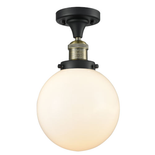 Franklin Restoration Black Antique Brass 13-Inch LED Semi-Flush Mount with Large Matte White Cased Beacon Shade