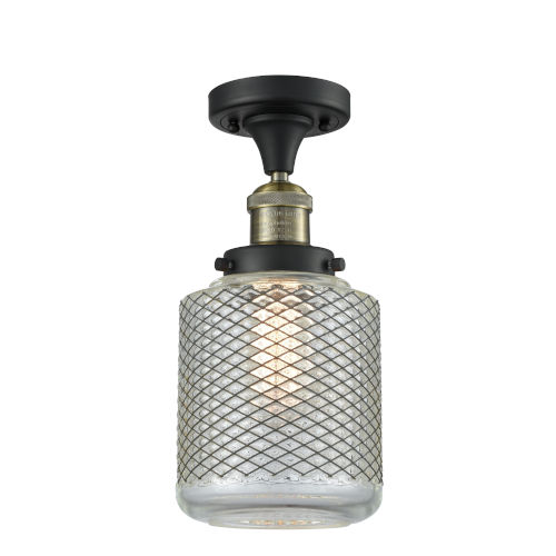 Franklin Restoration Black Antique Brass Six-Inch One-Light Semi-Flush Mount with Clear Wire Mesh Glass Shade