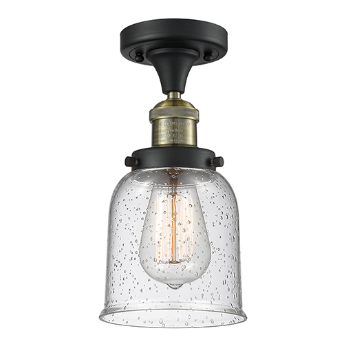 Innovations Lighting Small Bell Black Antique Brass Nine-Inch LED Semi Flush Mount with Seedy Bell Glass
