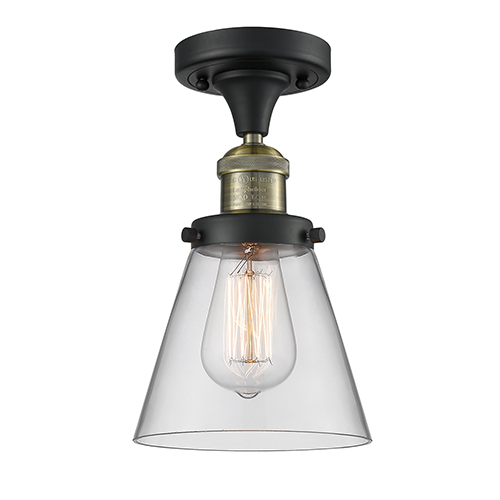 Innovations Lighting Small Cone Black Antique Brass Seven-Inch One-Light Semi Flush Mount with Clear Cone Glass