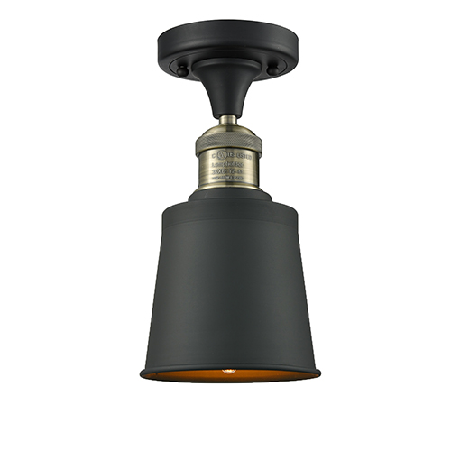 Innovations Lighting Addison Black Antique Brass Nine-Inch LED Semi Flush Mount with Brushed Brass Metal Shade