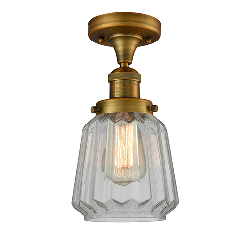 Chatham Brushed Brass 14-Inch One-Light Semi Flush Mount with Clear Fluted Novelty Glass