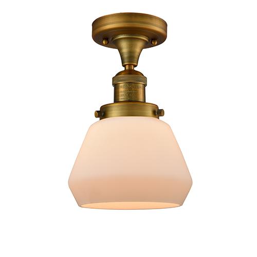 Innovations Lighting Fulton Brushed Brass 11-Inch One-Light Semi Flush Mount with Matte White Cased Sphere Glass