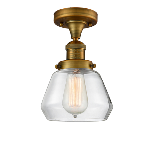 Innovations Lighting Fulton Brushed Brass 11-Inch One-Light Semi Flush Mount with Clear Sphere Glass