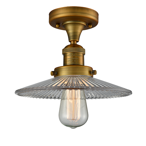 Innovations Lighting Halophane Brushed Brass Eight-Inch LED Semi Flush Mount with Halophane Cone Glass