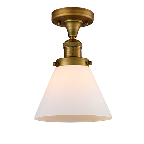 Innovations Lighting Large Cone Brushed Brass 12-Inch One-Light Semi Flush Mount with Matte White Cased Cone Glass