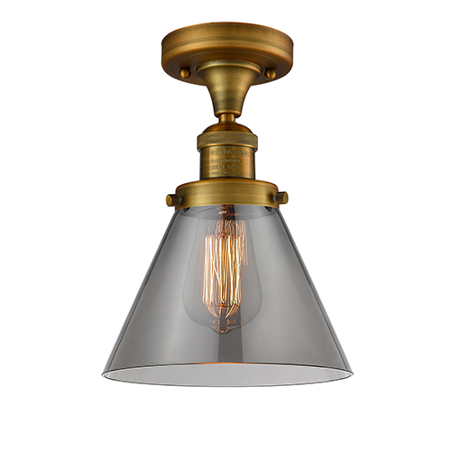 Innovations Lighting Large Cone Brushed Brass 12-Inch LED Semi Flush Mount with Smoked Cone Glass