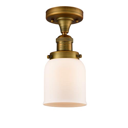 Innovations Lighting Small Bell Brushed Brass Nine-Inch LED Semi Flush Mount with Matte White Cased Bell Glass