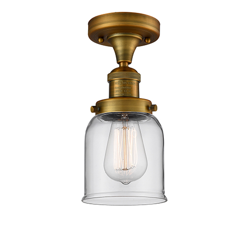 Innovations Lighting Small Bell Brushed Brass Nine-Inch One-Light Semi Flush Mount with Clear Bell Glass