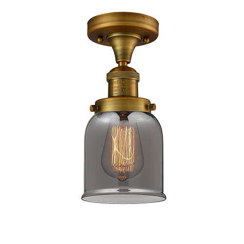 Small Bell Brushed Brass Nine-Inch LED Semi Flush Mount with Smoked Bell Glass