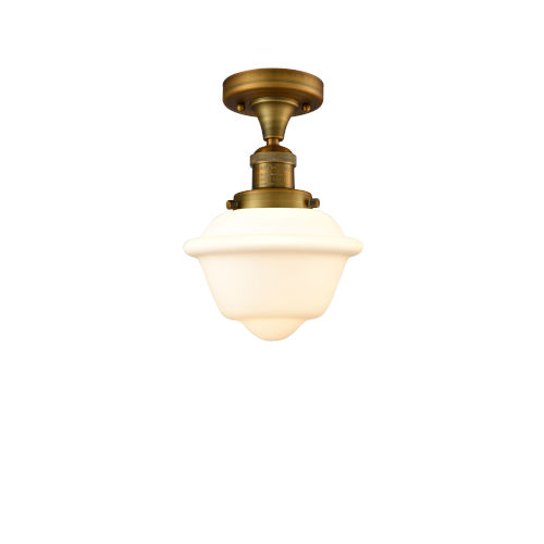 Franklin Restoration Brushed Brass 11-Inch One-Light Semi-Flush Mount with Matte White Cased Small Oxford Shade