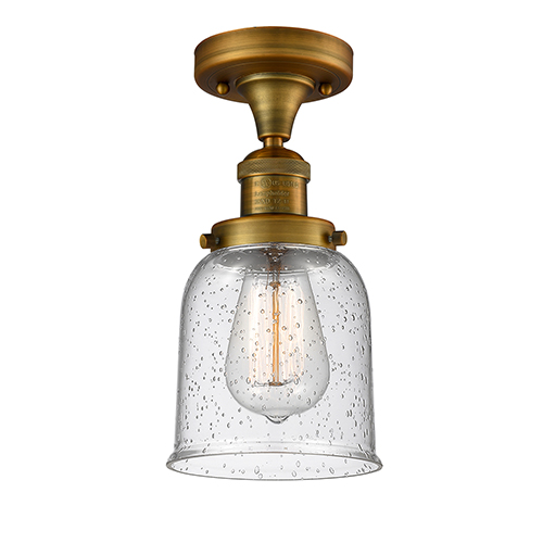 Innovations Lighting Small Bell Brushed Brass Nine-Inch LED Semi Flush Mount with Seedy Bell Glass