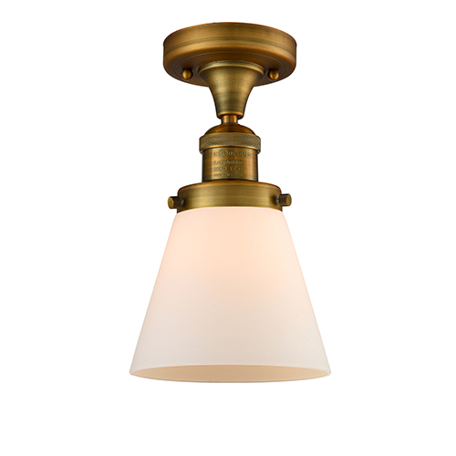 Innovations Lighting Small Cone Brushed Brass Seven-Inch One-Light Semi Flush Mount with Matte White Cased Cone Glass