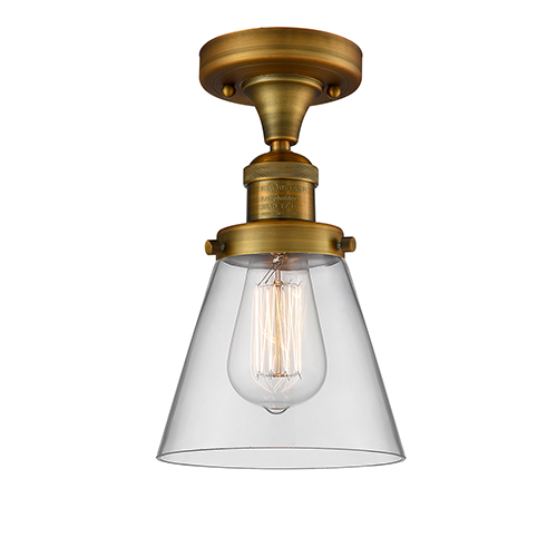 Small Cone Brushed Brass Seven-Inch LED Semi Flush Mount with Clear Cone Glass
