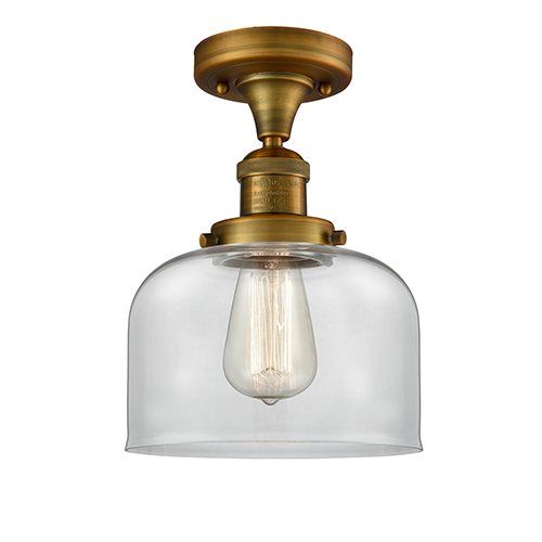 Innovations Lighting Large Bell Brushed Brass 12-Inch LED Semi Flush Mount with Clear Dome Glass