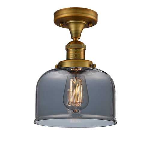 Large Bell Brushed Brass 12-Inch LED Semi Flush Mount with Smoked Dome Glass