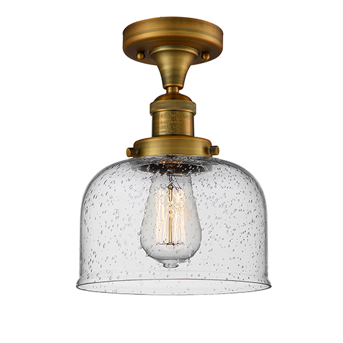 Large Bell Brushed Brass 12-Inch LED Semi Flush Mount with Seedy Dome Glass