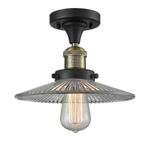 Innovations Lighting Halophane Black Brushed Brass Eight-Inch One-Light Semi Flush Mount with Halophane Cone Glass