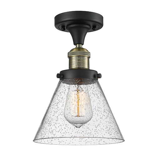 Innovations Lighting Large Cone Black Brushed Brass 12-Inch One-Light Semi Flush Mount with Seedy Cone Glass