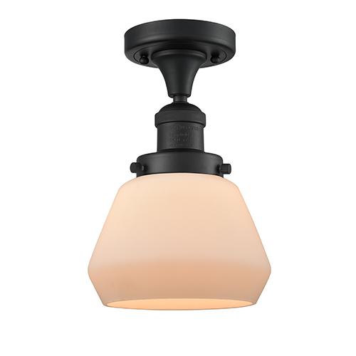 Innovations Lighting Fulton Black 11-Inch One-Light Semi Flush Mount with Matte White Cased Sphere Glass