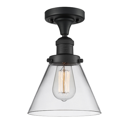 Large Cone Black Eight-Inch One-Light Semi Flush Mount with Clear Cone Glass