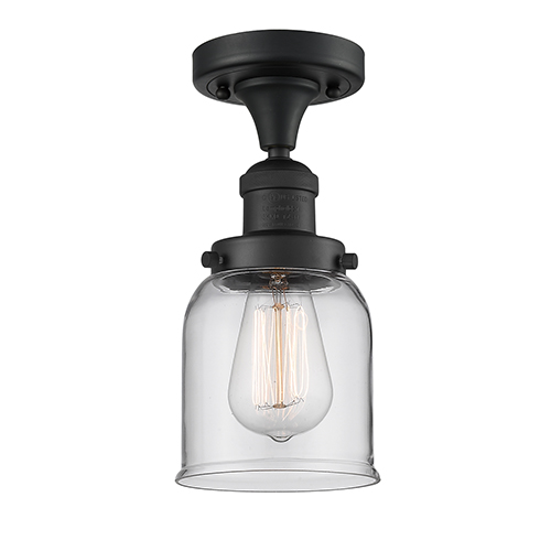 Innovations Lighting Small Bell Black Five-Inch One-Light Semi Flush Mount with Clear Bell Glass