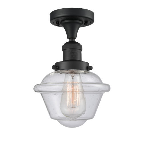 Franklin Restoration Matte Black Eight-Inch One-Light Semi-Flush Mount with Seedy Small Oxford Shade