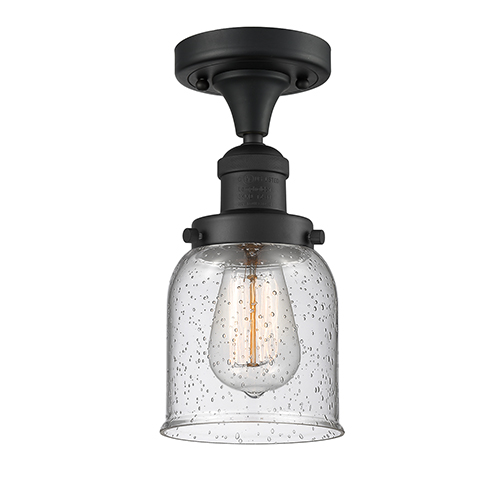 Innovations Lighting Small Bell Black Five-Inch One-Light Semi Flush Mount with Seedy Bell Glass