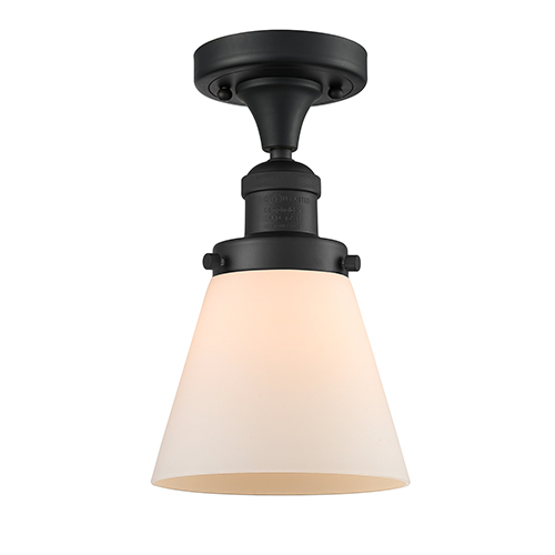 Innovations Lighting Small Cone Black Antique Brass Seven-Inch One-Light Semi Flush Mount with Matte White Cased Cone Glass