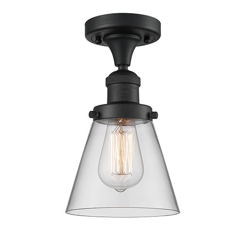 Small Cone Black Seven-Inch One-Light Semi Flush Mount with Clear Cone Glass