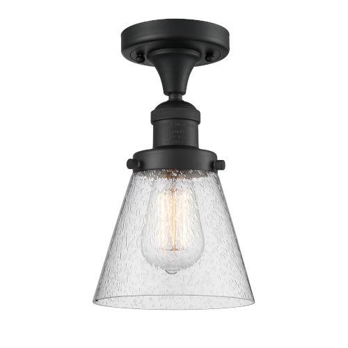 Small Cone Matte Black LED Semi Flush Mount