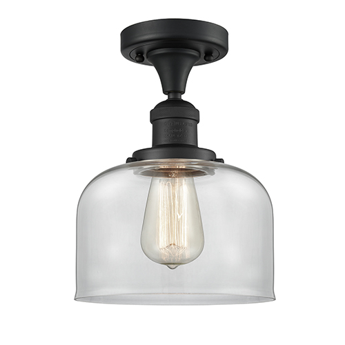 Innovations Lighting Large Bell Black Antique Brass 12-Inch One-Light Semi Flush Mount with Clear Dome Glass