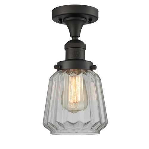 Innovations Lighting Chatham Oiled Rubbed Bronze 14-Inch One-Light Semi Flush Mount with Clear Fluted Novelty Glass