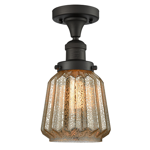 Innovations Lighting Chatham Oiled Rubbed Bronze 14-Inch One-Light Semi Flush Mount with Mercury Fluted Novelty Glass