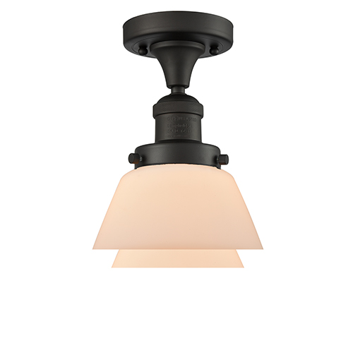 Fulton Oiled Rubbed Bronze 11-Inch LED Semi Flush Mount with Matte White Cased Sphere Glass