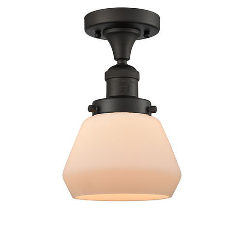 Innovations Lighting Fulton Oiled Rubbed Bronze 11-Inch One-Light Semi Flush Mount with Matte White Cased Sphere Glass