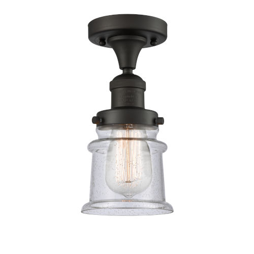 Franklin Restoration Oil Rubbed Bronze 12-Inch One-Light Semi-Flush Mount with Seedy Canton Shade