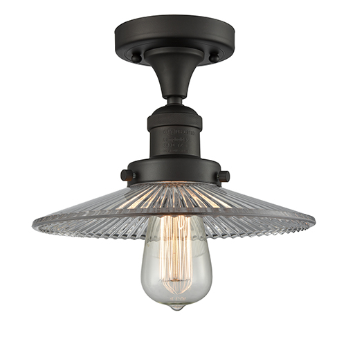 Halophane Oiled Rubbed Bronze Eight-Inch One-Light Semi Flush Mount with Halophane Cone Glass