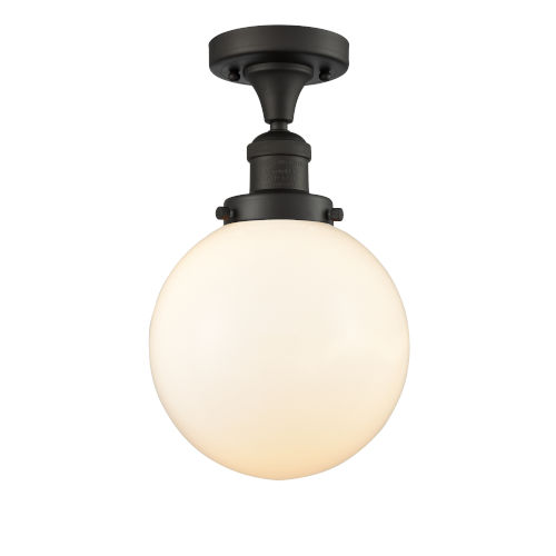 Franklin Restoration Oil Rubbed Bronze Eight-Inch One-Light Semi-Flush Mount with Matte White Glass Shade
