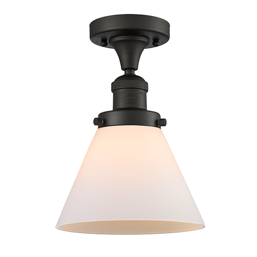 Innovations Lighting Large Cone Oiled Rubbed Bronze 12-Inch One-Light Semi Flush Mount with Matte White Cased Cone Glass