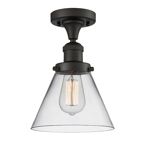 Large Cone Oiled Rubbed Bronze 12-Inch One-Light Semi Flush Mount with Clear Cone Glass