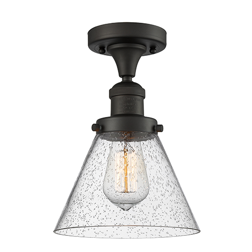 Large Cone Oiled Rubbed Bronze 12-Inch One-Light Semi Flush Mount with Seedy Cone Glass