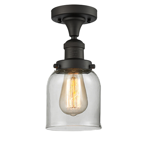 Innovations Lighting Small Bell Oiled Rubbed Bronze Nine-Inch LED Semi Flush Mount with Clear Bell Glass