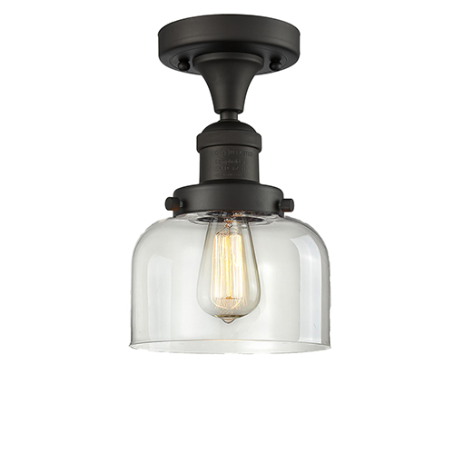 Innovations Lighting Large Bell Oiled Rubbed Bronze 12-Inch One-Light Semi Flush Mount with Clear Dome Glass
