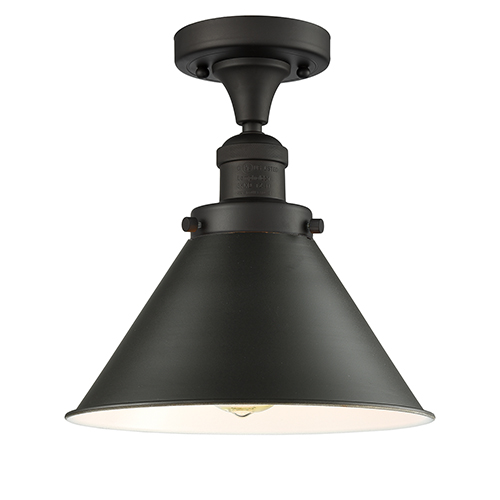 Innovations Lighting Briarcliff Oiled Rubbed Bronze 11-Inch One-Light Semi Flush Mount with Oil Rubbed Bronze Metal Shade